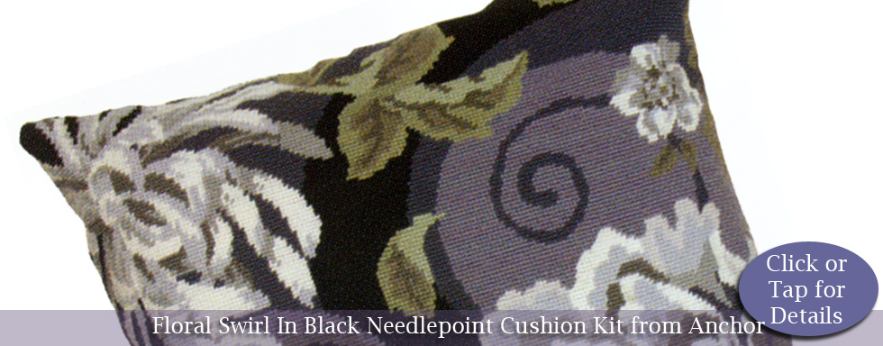 Floral Swirl in Black Cushion Kit from the Anchor Living Collection