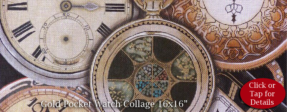 Gold Pocket Watch Collage from Lani Needlepoint