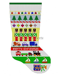 Susan Roberts Needlepoint Designs - Hand-painted Christmas Stocking - Soldier Stripe Boys Stocking