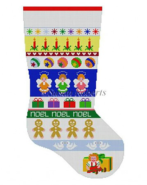 Susan Roberts Needlepoint Designs - Hand-painted Christmas Stocking - Angel Stripe Girls Stocking