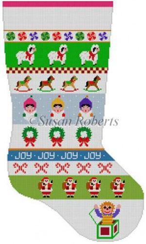 Susan Roberts Needlepoint Designs - Hand-painted Christmas Stocking - Caroler Stripe Stocking