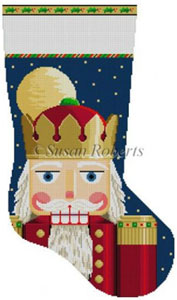 Susan Roberts Needlepoint Designs - Hand-painted Christmas Stocking - Nutcracker Face