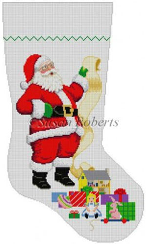Susan Roberts Needlepoint Designs - Hand-painted Christmas Stocking - Santa Wish List -Girl Toys
