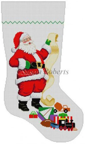 Susan Roberts Needlepoint Designs - Hand-painted Christmas Stocking - Santa Wish List -Boy Toys