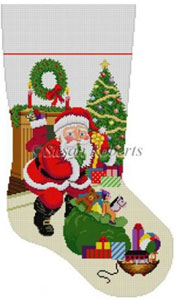 Susan Roberts Needlepoint Designs - Hand-painted Christmas Stocking - Shhh Santa With Bag of Toys