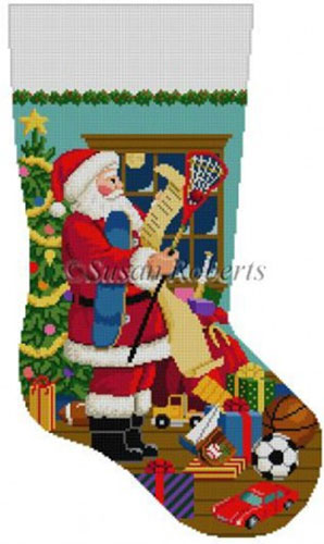 Susan Roberts Needlepoint Designs - Hand-painted Christmas Stocking - Santa's List, Boys Sports Toys
