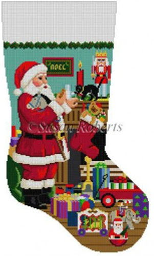 Susan Roberts Needlepoint Designs - Hand-painted Christmas Stocking - Santa's Milk & Cookies