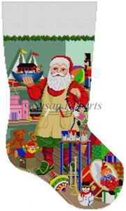 Susan Roberts Needlepoint Designs - Hand-painted Christmas Stocking - Santa Painting Ark