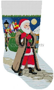 Susan Roberts Needlepoint Designs - Hand-painted Christmas Stocking - Santa Coming Up Sidewalk