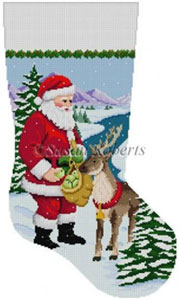 Susan Roberts Needlepoint Designs - Hand-painted Christmas Stocking - Santa Feeding Apples to Reindeer