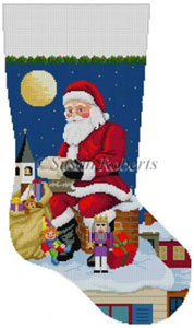 Susan Roberts Needlepoint Designs - Hand-painted Christmas Stocking - Santa Reading List on Chimney