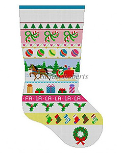 Susan Roberts Needlepoint Designs - Hand-painted Christmas Stocking - Sleigh Ride Stripe Stocking