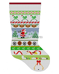 Susan Roberts Needlepoint Designs - Hand-painted Christmas Stocking - Sports Stripe Stocking