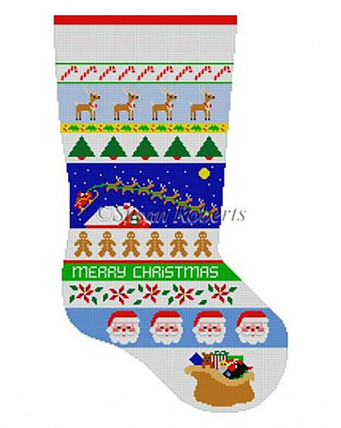 Susan Roberts Needlepoint Designs - Hand-painted Christmas Stocking - Sleigh Over the House Stripe Stocking