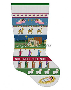 Susan Roberts Needlepoint Designs - Hand-painted Christmas Stocking - Nativity Stripe Stocking