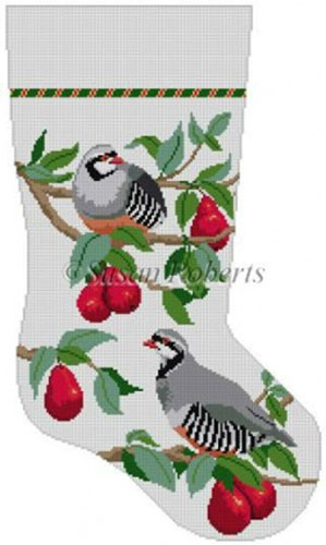 Susan Roberts Needlepoint Designs - Hand-painted Christmas Stocking - Partridge In Red Bartlett Pear Tree