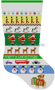 Susan Roberts Needlepoint Designs - Hand-painted Christmas Stocking - Santa Stripe Boys Stocking