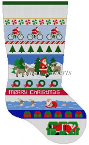 Susan Roberts Needlepoint Designs - Hand-painted Christmas Stocking - Triathlon Santa Stripe Stocking