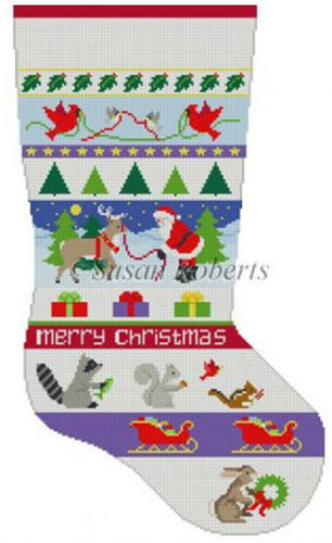 Susan Roberts Needlepoint Designs - Hand-painted Christmas Stocking - Santa & Animals Stripe Stocking