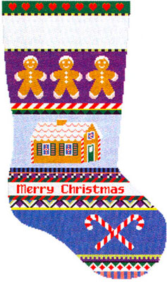 Susan Roberts Needlepoint Designs - Hand-painted Christmas Stocking - Bold Stripe Gingerbread Stocking