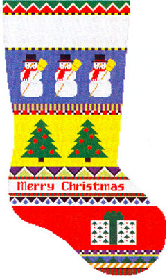 Susan Roberts Needlepoint Designs - Hand-painted Christmas Stocking - Bold Stripe Snowman Stocking