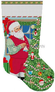 Susan Roberts Needlepoint Designs - Hand-painted Christmas Stocking - Santa Decorating Toy Tree