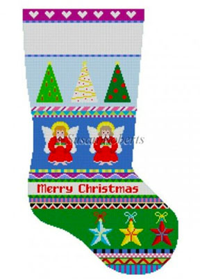 Susan Roberts Needlepoint Designs - Hand-painted Christmas Stocking - Bold Stripe Angels
