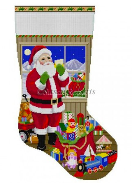 Susan Roberts Needlepoint Designs - Hand-painted Christmas Stocking - Santa Packing the Bags
