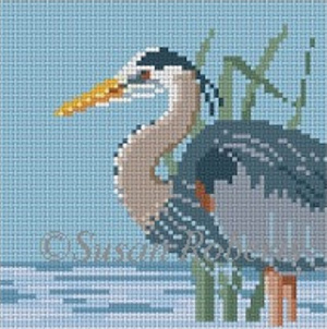 Susan Roberts Needlepoint Designs - Grey Heron Coaster