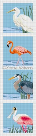 Susan Roberts Needlepoint Designs - Wading Birds Coaster Strip (Runner)