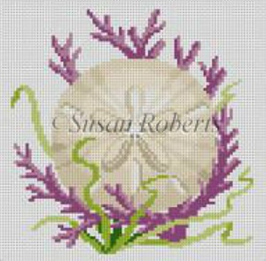 Susan Roberts Needlepoint Designs - Hand-painted Canvas -  Seashell, Sand Dollar