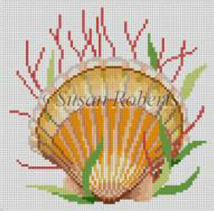 Susan Roberts Needlepoint Designs - Hand-painted Canvas -  Seashell, Sea Scallop