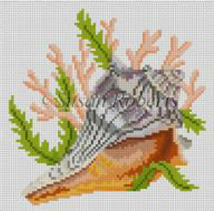 Susan Roberts Needlepoint Designs - Hand-painted Canvas -  Seashell, Lightning Whelk