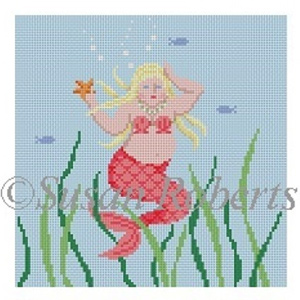 Susan Roberts Needlepoint Designs - Hand-painted Canvas - Chubby Mermaid