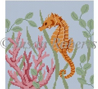 Susan Roberts Needlepoint Designs - Hand-painted Canvas -  Seahorse