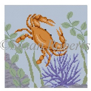 Susan Roberts Needlepoint Designs - Hand-painted Canvas -  Crab