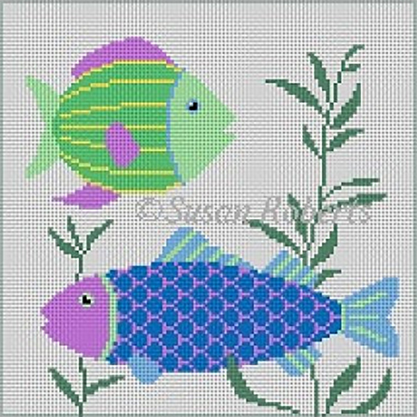 Susan Roberts Needlepoint Designs - Hand-painted Canvas -  Fish 2