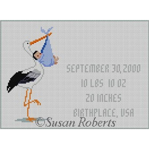 Susan Roberts Needlepoint Designs - Hand-painted Canvas - Stork with Baby - Blue