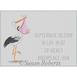 Susan Roberts Needlepoint Designs - Hand-painted Canvas - Stork with Baby - Pink