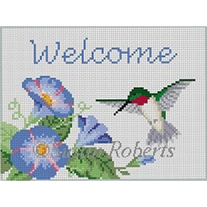Susan Roberts Needlepoint Designs - Hand-painted Canvas -  Hummingbird Welcome