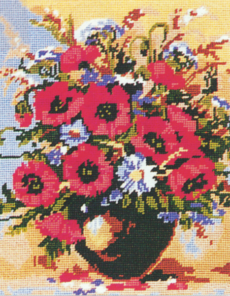Vase of Poppies  - Collection d'Art Needlepoint Canvas