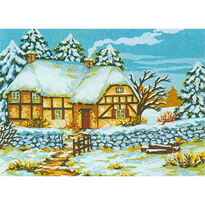 Winter at the Tudor Cottage  - Collection d'Art Needlepoint Canvas