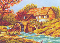 Fall  at the Old Mill  - Collection d'Art Needlepoint Canvas
