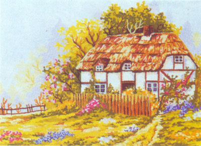 Summer at the Tudor Cottage  - Collection d'Art Needlepoint Canvas