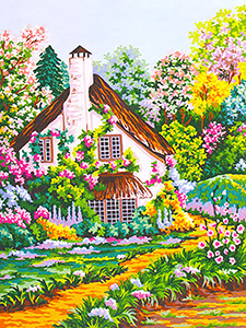 English Cottage - Path Through the Flower Garden - Collection d'Art Needlepoint Canvas