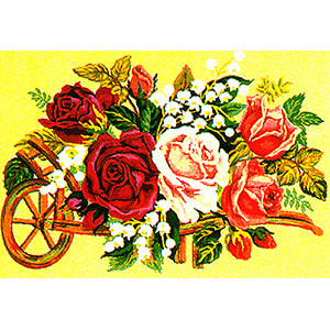 Wheelbarrow of Flowers - Collection d'Art Needlepoint Canvas