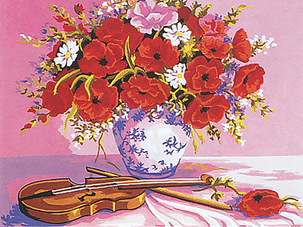 Vase of Poppies with Violin  - Collection d'Art Needlepoint Canvas