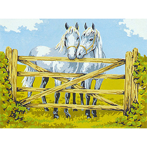 Twin White Horses  - Collection d'Art Needlepoint Canvas