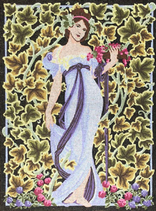 Lady in Vines & Flowers  - Collection d'Art Needlepoint Canvas