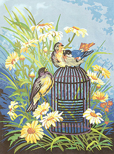 Happy Little Birds  - Collection d'Art Needlepoint Canvas